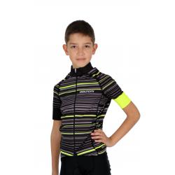 Cycling Jersey Short Sleeves PRO FLUO GREEN - GANNON KIDS