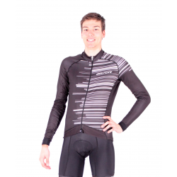 Cycling Jersey Long Sleeves Pro BLACK/WHITE - GANNON