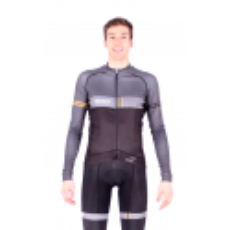 Cycling Jersey Long Sleeves BLACK/GREY - VINTAGE