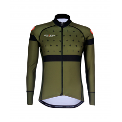 Cycling Jersey Long Sleeves BLACK/KHAKI - BAKIO