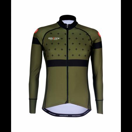Cycling Jersey Long Sleeves BLACK/KHAKI - BAKIO