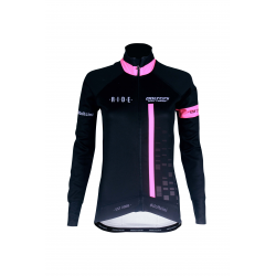 Cycling Lady Jacket Winter PRO BLACK/FLUO PINK - CUBO