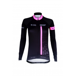 Cycling Lady Jersey Long Sleeves BLACK/FLUO PINK - CUBO