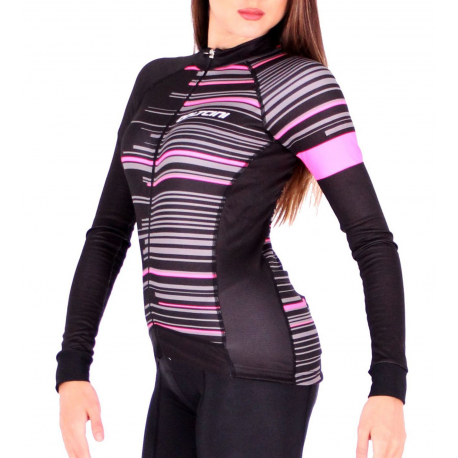 Cycling Jersey Long Sleeves FLUO PINK - GANNON